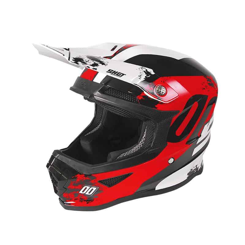 Casque moto cross Shot FURIOUS - SHADOW - RED WHITE GLOSSY 2020
