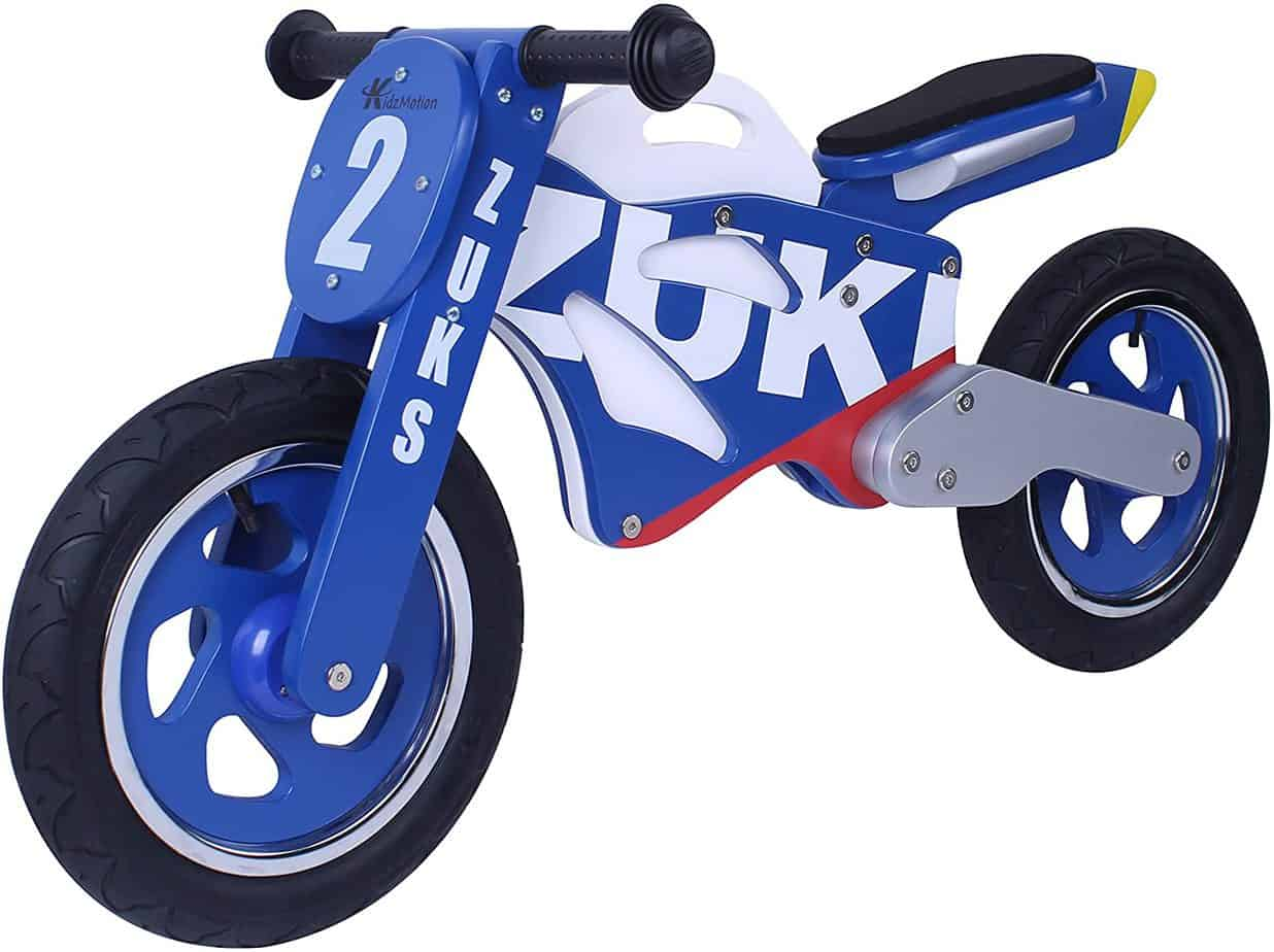 draisienne moto en bois bleu et blanche