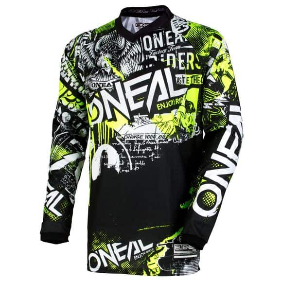 Maillot motocross O'Neal Element – Attack – Black Hi-Viz
