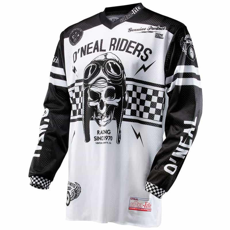 Maillot motocross O'Neal Ultra Lite '70 – Black White
